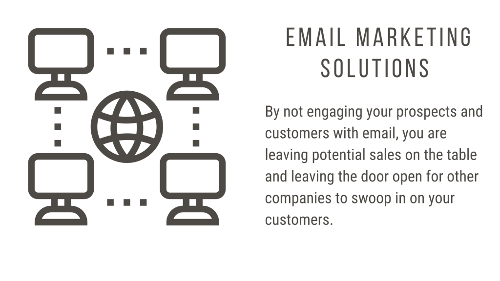 By not engaging your prospects and customers with email, you are leaving potential sales on the table.